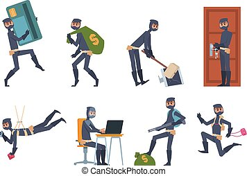 Cartoon thief. Car burglary and house robbery flat scenes, criminal person wearing black clothes. Vector hacking and money stealing