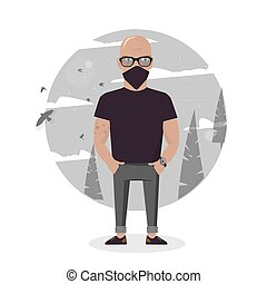 Cartoon thief in black mask. Bad man vector illustration.