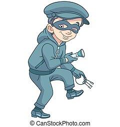 cartoon thief in mask with keys