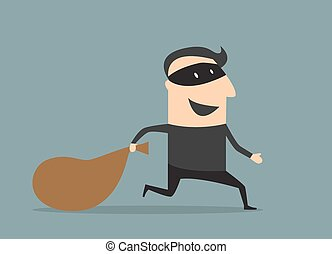 Cartooned thief in black mask and costume running away from the pursuit dragging sack with loot