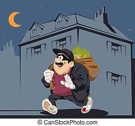 Cartoon thief in mask with sack. Funny people. - Funny ...