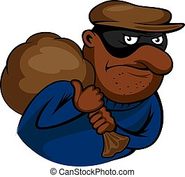 Cartoon thief or burglar character with bag