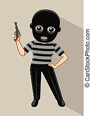 Cartoon Thief with Gun