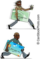 Cartoon thieves with bank cards and money - African american...