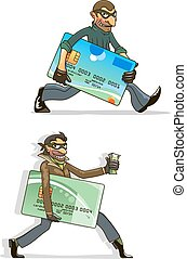 Cartoon thieves with stolen credit cards and money