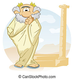 Cartoon thinker - Old ancient philosopher with wreath on...