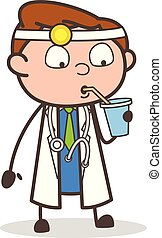 Cartoon Thirsty Doctor Vector Illustration