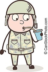 Cartoon Thirsty Officer Drinking Beverage Vector Concept