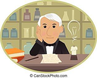 Edison - Cartoon Thomas Edison is sitting behind his desk ...