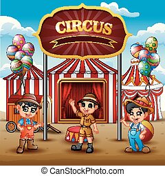Cartoon three boys standing in on the circus arena
