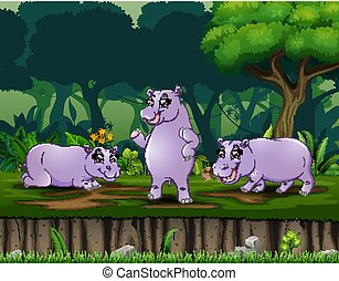 Cartoon three hippo playing at the night forest