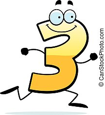 Cartoon Three Running - A cartoon illustration of a number...