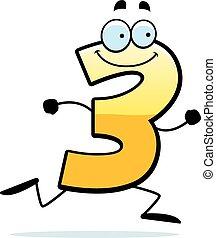 Cartoon Three Running - A cartoon illustration of a number...