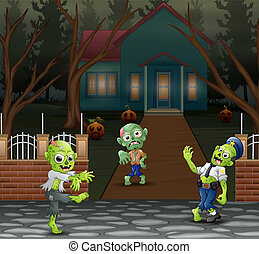 Cartoon three zombie in front of the scary house