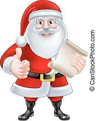 Cartoon Thumbs Up Santa with List