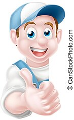 Cartoon Thumbs Up Worker