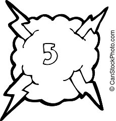 cartoon thunder cloud with number five