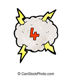 cartoon thunder cloud with number four