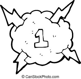 cartoon thunder cloud with number one