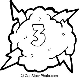 cartoon thunder cloud with number three