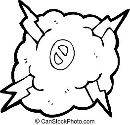 cartoon thunder cloud with number zero