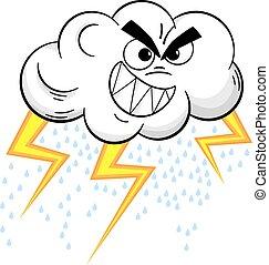 cartoon thundercloud isolated on white