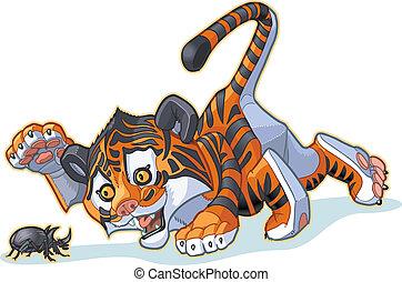 Cartoon Tiger Cub and Beetle - Vector Cartoon Clip Art...