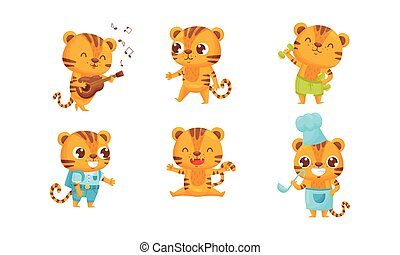 Cartoon Tiger Cub Playing Guitar and Doing Physical Exercise Vector Set