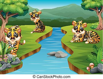 Cartoon tiger group on the riverside