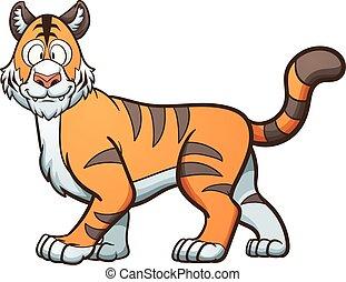 Cartoon Tiger - Happy cartoon tiger. Vector clip art...