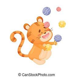 Cartoon tiger juggler. Vector illustration on a white background.