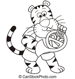 Cartoon Tiger Playing a French Horn