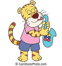 Cartoon Tiger Playing a Saxophone - Cartoon tiger playing a...