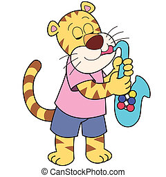 Cartoon Tiger Playing a Saxophone - Cartoon tiger playing a...