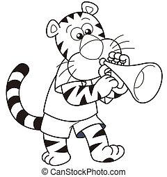 Cartoon Tiger Playing a Trumpet - Cartoon tiger playing a...