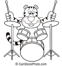 Cartoon Tiger Playing Drums