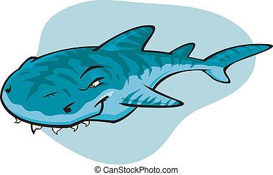 Cartoon Tiger shark - A cartoon vector illustration of the ...