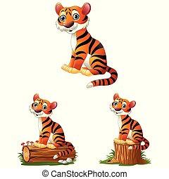 Cartoon tiger sitting on log