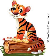Cartoon tiger sitting on tree log - Vector illustration of...