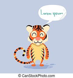 Cartoon Tiger Smile Show Two Finger Peace Gesture Emotion
