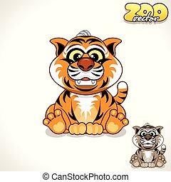 Cartoon Tiger. Vector Character