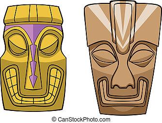 Cartoon Tiki Masks Vector