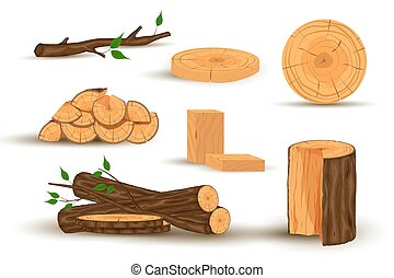 Wooden firewood logs.