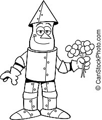 Cartoon tin man holding flowers.