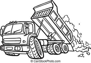 Cartoon tipper truck. Border - Illustration of a Cartoon ...
