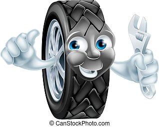 Cartoon tire mascot with wrench - Cartoon tire mechanic...