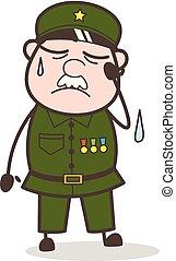 Cartoon Tired Sergeant Face Vector Illustration