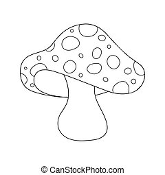 cartoon  toadstool outline isolated on white background