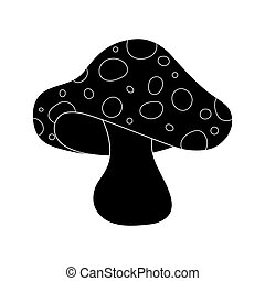 cartoon  toadstool silhouette isolated on white background