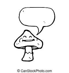 cartoon toadstool with speech bubble
